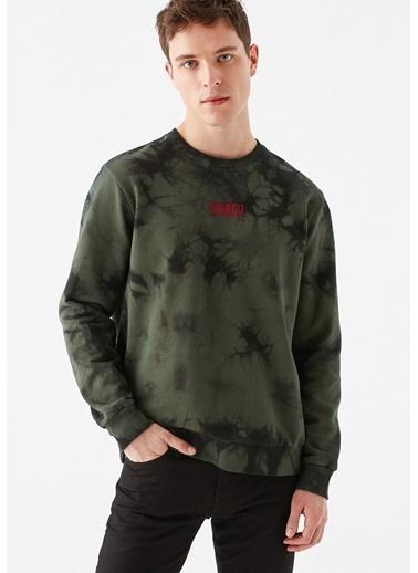 Mavi Stereo Baskılı Batik Desenli  Sweatshirt Yeşil